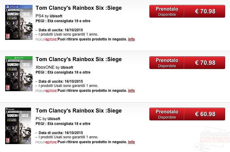 Rainbow six release date