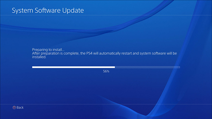 PS4 Update screen